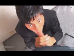 【ゲイ動画】「先生のチンコをフェラしてイカせるんで単位を下さい…」学ラン男子校生が上目遣いで先生のマラをしゃぶり顔に精子を浴びる!