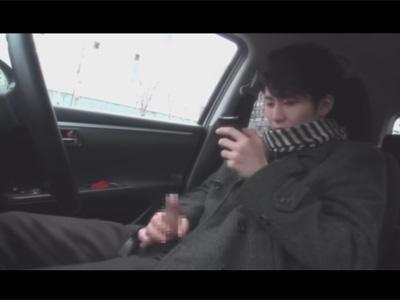 【ゲイ動画】高身長爽やかイケメンノンケの普段通りのオナニーを撮影!人気の無い場所に車を止めチャックから竿だけ出してシコる!