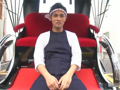 【ゲイ動画】人力車を引く29歳のイケメンの俥夫の大悟君が仕事道具の人力車に座って野外露出オナニーでビンビンのマラからザーメン噴射!