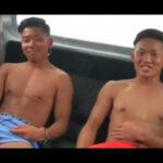 【ゲイ動画】海で20歳のノンケサーファーの2人組をナンパ!車の荷室で友達同士横並びでオナってもらいイクところを撮影する!