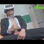 【ゲイ動画】イケメンスーツリーマンの息抜きオナニー!VRゴーグルでオナりエアーダッチでもオナりガラステーブルに白濁精子を発射する!